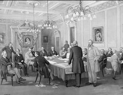 John A. Macdonald met in 1867 with 16 delegates from the colonies of New Brunswick, Nova Scotia and the United Provinces of Canada at the London Conference to resolve the wording for the British North America Act. (Library and Archives Canada)