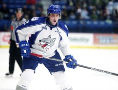 Sudbury Wolves newly acquired defenceman Patrick Sanvido in action against the Guelph Storm in Sudbury, Ont. on Friday December 30, 2016. Gino Donato/Sudbury Star/Postmedia Network