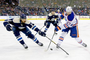 Seth Jones of the Columbus Blue Jackets attempts to block a shot by Benoit Pouliot of the Edmonton Oilers at Nationwide Arena on Jan. 3, 2017. (Getty Images)