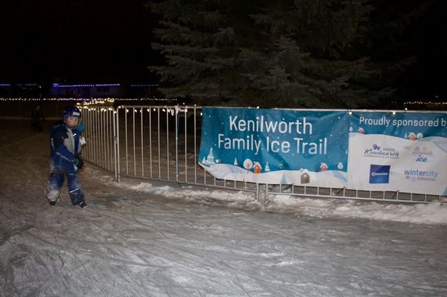 Xavier Zakowsky skates at the Kenilworth Family Ice Trail opening event on Friday, Dec. 30. The new trail unofficially opened in early December. Madeleine Cummings, Edmonton Examiner