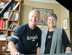 Paul Coates and Trudy Jonkman of Sing for the Joy of It! are welcoming one and all to join the intergenerational choir for a special celebration of Canada's 150th birthday this year. (Scott Wishart/Stratford Beacon Herald/Postmedia Network)