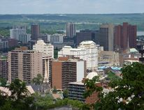 An aerial shot of downtown Hamilton from above the Niagara Escarpment (photo: Getty Images).