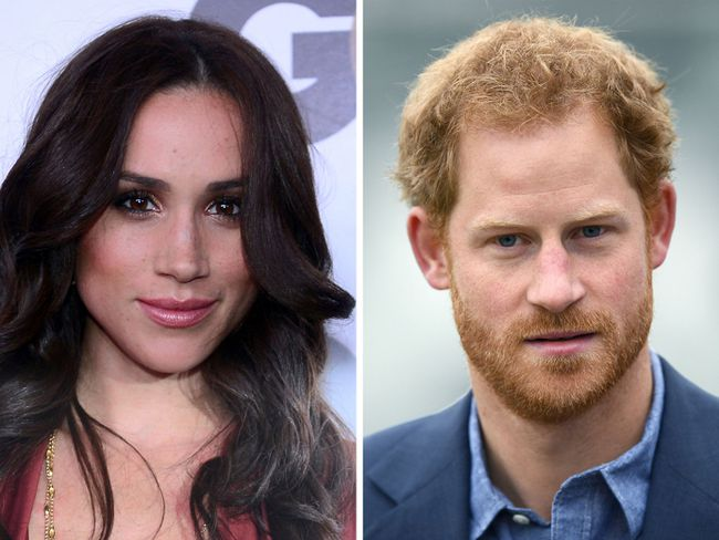 This combination of file photos created in London on November 8, 2016, shows Meghan Markle (L) as she poses on arrival for the GQ Men of the Year Party in Hollywood, California, on November 13, 2012, and Britain's Prince Harry as he arrives at Lord's cricket ground in London on October 7, 2016.  / AFP PHOTO / FREDERIC J. BROWN AND Justin TALLIS