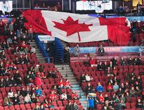 Empty seats are seen as fans pass around a giant Canadian flag before the quarterfinal game between Czech Republic and Canada at the world junior hockey championship in Montreal on Monday, Jan. 2, 2017. (Ryan Remiorz/The Canadian Press)