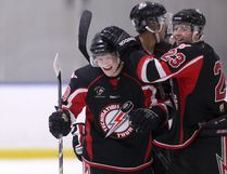 Thunder forward Andrew McLennan (10) is congratulated by forward Clay Murray (23) for scoring a goal as the Airdrie Techmation Thunder beat the Ponoka Stampeders 11-3 in Heritage Junior Hockey League action at the Ron Ebbesen Arena on Friday, Dec. 16, 2016 in Airdrie, Alta.
