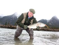 """Neil with a """"God-awful big"""" Athabasca River bull trout"""
