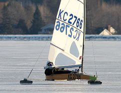 Kingston's Peter van Rossem sails his iceboat on Colonel John By Lake on Saturday. (Ian MacAlpine/The Whig-Standard)
