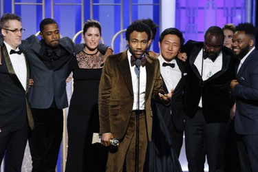 """In this handout photo provided by NBCUniversal, creator, executive producer and actor Donald Glover accepts the award for Best Television Series - Musical or Comedy for the series """"Atlanta"""" during the 74th Annual Golden Globe Awards at The Beverly Hilton Hotel on January 8, 2017 in Beverly Hills, California. (Photo by Paul Drinkwater/NBCUniversal via Getty Images)"""