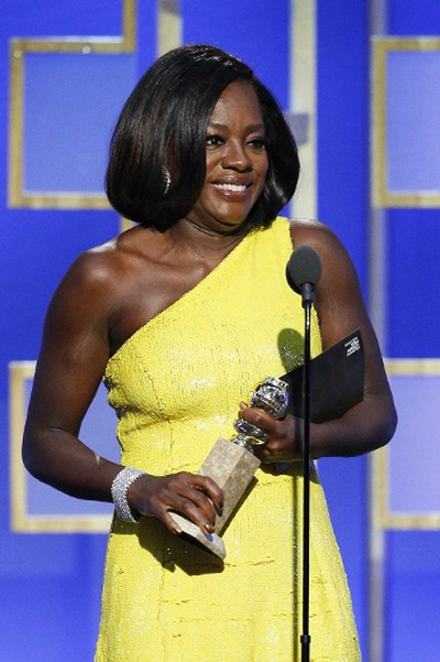 """In this handout photo provided by NBCUniversal, Viola Davis accepts the award for Best Supporting Actress - Motion Picture for her role in """"Fences"""" during the 74th Annual Golden Globe Awards at The Beverly Hilton Hotel on January 8, 2017 in Beverly Hills, California. (Photo by Paul Drinkwater/NBCUniversal via Getty Images)"""