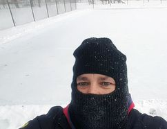 Goderich councillor Trevor Bazinet takes a selfie with one of the two rinks behind him. Courtesy The Goderich Outdoor Rinks' Facebook page.