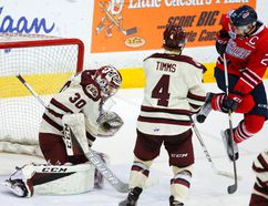 Petes goalie Dylan Wells makes a glove save next to Oshawa Generals' Anthony Cirelli as defenceman Matthew Timms moves in during OHL action Nov. 22, 2016, in Peterborough. The Generals traded Cirelli to the Erie Otters on Monday. (Clifford Skarstedt/Postmedia Network)