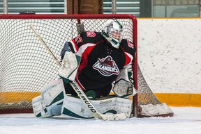Goaltender Doug Johnston of the Gananoque Islanders, seen in action in a game against the Amherstview Jets earlier this season, made 52 saves to backstop the Isles to a 4-3 win over the Napanee Raiders in a Provincial Junior Hockey League game on Sunday night in Gananoque. (The Whig-Standard)