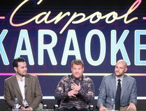 Executive producers Ben Winston, James Corden and Eric R. Pankowski of the television show 'Carpool Karaoke' speak onstage during the CBS portion of the 2017 Winter Television Critics Association Press Tour at the Langham Hotel on January 9, 2017 in Pasadena, California. (Photo by Frederick M. Brown/Getty Images)