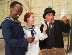 Demis Odanga, Alaina Walker and John Turner perform in The Angel of Long Point at Fanshawe Pioneer Village in July 2015. Turner will receive the Doty Award to honour his lifelong contributions to London theatre at the Brickenden Awards on Jan. 30. (MIKE HENSEN, The London Free Press)
