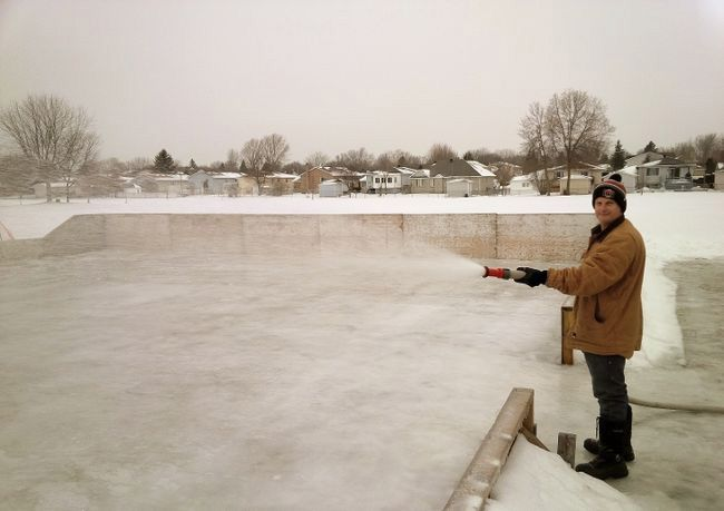 Bruce Tait, one of the many volunteers in Cornwall who help maintain community outdoor rinks in the city.