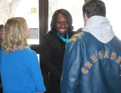 Ontario Minister of Education Mitzi Hunter, meeting with two students at Char-Lan District High School before a short tour of the facility, on Tuesday. Todd Hambleton/Cornwall Standard-Freeholder
