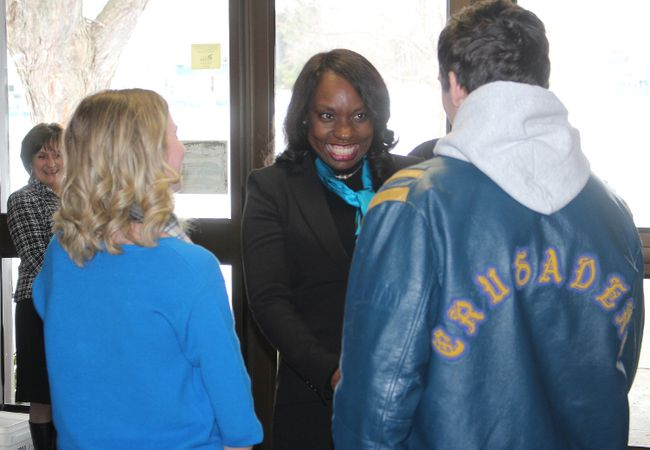 Ontario Minister of Education Mitzi Hunter, meeting with two students at Char-Lan District High School before a short tour of the facility, on Tuesday.