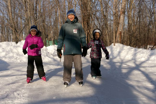 MEHREEN SHAHID/THE PACKET & TIMES Winter won't keep residents of the area from enjoying a number of outdoor activities including skating on outdoor trails. Tyson Young, 13, (centre) was with his sister, Lauren, 10, (left) and cousin, Raelyn Cabural, 5, at Fern Resort this past weekend. Trail skating is open to staying guests throughout the day and to the public for daytime-skating packages on Sundays and nighttime-skating packages on Wednesdays. For more information, call the resort at 1-800-567-3376.