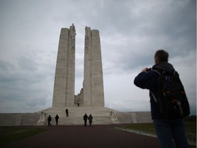 Visitors walk towards the Canadian National Vimy Memorial in Vimy, France. PETER MACDIARMID / GETTY IMAGES