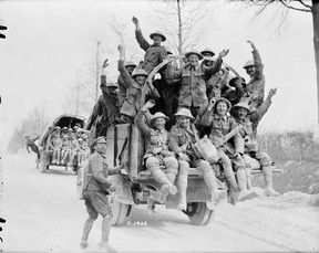 Victorious Canadians returning from Vimy Ridge in 1917 / William Castle, Canada. Dept. of National Defence – Library and Archives Canada.