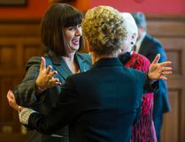 Marie-France Lalonde is all smiles as she is welcomed by Ontario premier Kathleen Wynne during a swearing-in ceremony at Queen's Park in Toronto on Thursday, Jan. 11, 2017. Lalonde has been moved to the corrections ministry in a mini-cabinet shuffle. (ERNEST DOROSZUK/TORONTO SUN)