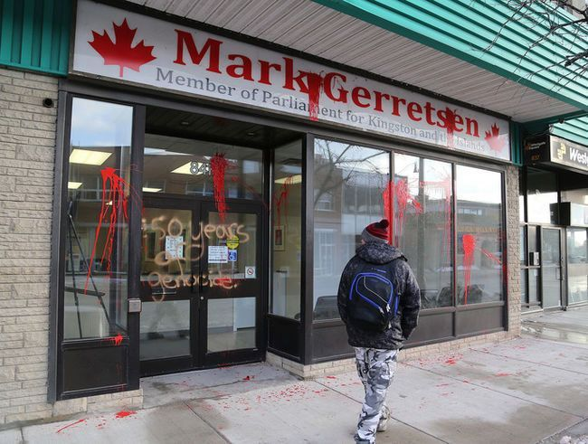 Previous Next Vandals splatter paint on the glass and wrote u0027150 years of Genocideu0027 on the & Police search for suspects of office vandalism | The Kingston Whig ... pezcame.com