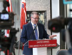 Minister of Labour Kevin Flynn gives an update on progress of making Ontario mines safer during a press conference in Sudbury, Ont. on Thursday January 12, 2017. John Lappa/Sudbury Star/Postmedia Network