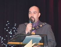 Photo by KEVIN McSHEFFREY/THE STANDARD On New Year's Day, Mayor Dan Marchisella gave those who attended the 18th Annual Elliot Lake Mayor's Levee a progress report on activities and projects in the city.