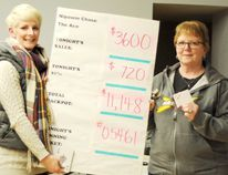 Left, Chelsea Corrigan, recreation co-ordinator for the Town of Nipawin stands with Leann Verzonowski, the winner from January 12's Chase the Ace event in Nipawin. The jackpot has reached $11,000