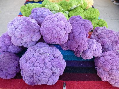 Coloured cauliflower for sale at the farmers market at the Santa Fe Railyard. The different varieties taste slightly different than the traditional white cauliflower. ROBIN ROBINSON/TORONTO SUN