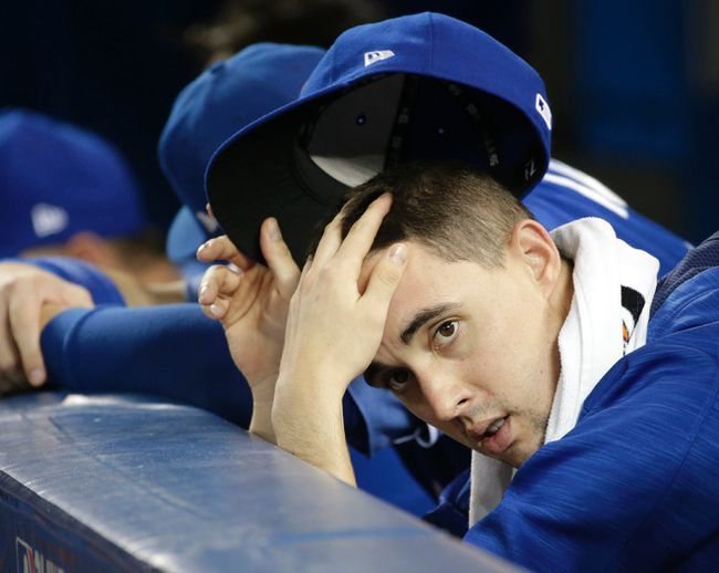 Pitcher Aaron Sanchez is seen during Game 5 of the AL Championship Series between the Blue Jays and Indians in Toronto on Oct. 19, 2016. The Blue Jays may have to rely on their starting pitching in 2017 to make another run for the playoffs. (Craig Robertson/Toronto Sun/Files)