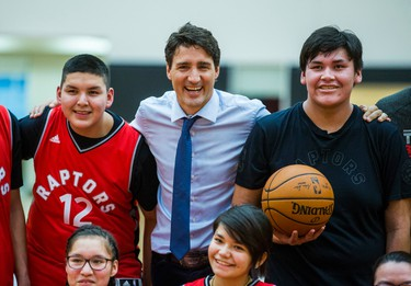 Canadian Prime Minister Justin Trudeau during a visit from students from La Loche Community School at the BioSteel Centre, where the Toronto Raptors practice, in Toronto, Ont. on Friday January 13, 2017.  Masai Ujiri, Toronto Raptors president and general manager, hosted a group of 10 kids, plus two teachers, from La Loche, Saskatchewan. Ernest Doroszuk/Toronto Sun/Postmedia Network