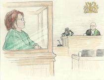 Nurse Elizabeth Wettlaufer of Woodstock appears before Justice of the Peace Michael McMahon Friday in Woodstock, charged with four new counts of attempted murder and two of aggravated assault against residents of nursing homes in Woodstock and Paris, Ont., and another at a private home in Oxford County. Wettlaufer was charged last fall with eight counts of first-degree murder of residents of two nursing homes in Woodstock and London, Ont. (Chaz Vincent, Special to The London Free Press)