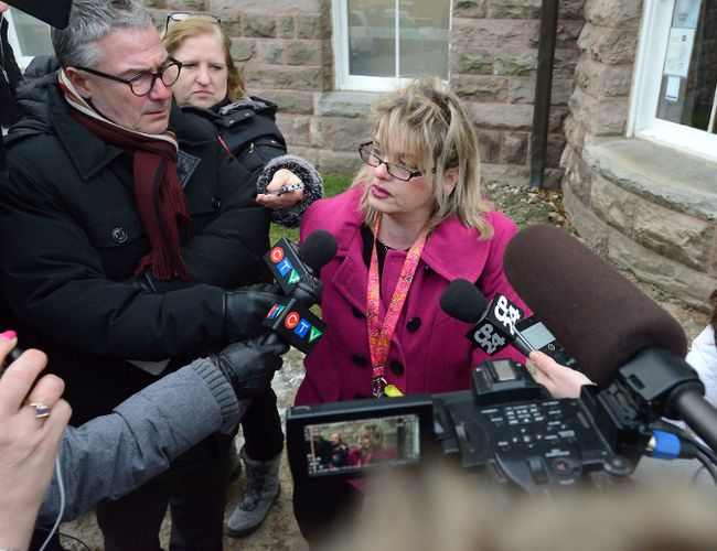 Susan Horvath, of London, talks with reporters outside the Woodstock courthouse after the appearance of Elizabeth Wettlaufer, the Woodstock nurse accused of killing residents in several southwestern Ontario nursing homes on Friday January 13, 2017. Horvath's father was included in the suspicious deaths in the case. MORRIS LAMONT/THE LONDON FREE PRESS /POSTMEDIA NETWORK