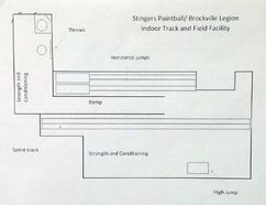 Shown here is the layout of how the Brockville Legion Track and Field will setup its facility in the back of Stingers. (Jonathon Brodie/The Recorder and Times)