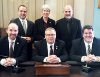 Prescott Mayor Brett Todd, showed at the bottom right of this photo of members pf the 2017 Eastern Ontario Mayors' Caucus, has been named the first leader of a separated municipality to head the United Counties Joint Services Committee.(Handout)