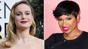 Brie Larson (L) and Jennifer Hudson are seen in a combination shot.  (Frazer Harrison/Jeff Spicer/Getty Images)