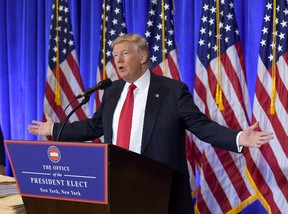 U.S. President-elect Donald Trump speaks during a press conference Jan. 11, 2017 at Trump Tower in New York. (TIMOTHY A. CLARY/AFP/Getty Images)