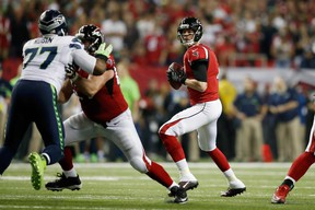 Matt Ryan of the Atlanta Falcons passes the ball against the Seattle Seahawks at the Georgia Dome on Jan. 14, 2017 in Atlanta. (Gregory Shamus/Getty Images)