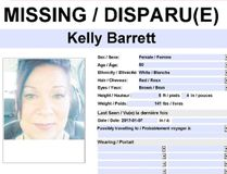 PHOTO SUPPLIED Grande Prairie RCMP are asking for the public's assistance to locate a missing female. Kelly Lynn Barrett, 50, was reported missing on the morning of January 14, 2017 by her family.
