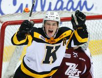 Ted Nichol of the Kingston Frontenacs celebrates his goal against the Peterborough Petes during OHL action in Peterborough on Saturday night. The Frontenacs won 4-3. (Clifford Skarstedt/Postmedia Network)