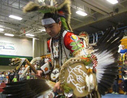 Talon White-Eye, a student at Lambton College, dances during the 24th annual powwow at the school on April 7, 2016 in Sarnia, Ont. In recent years, the college has adopted an aboriginal acknowledgment statement senior officials read at events held at its Sarnia campus. (File photo/Sarnia Observer)