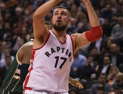 """""""We still have some areas that we can be better on,"""" says Toronto Raptors centre Jonas Valanciunas. """"We're still correcting some areas, practicing and working every day, and trying to be better as players."""" (photo by Craig Robertson/Postmedia Network)."""