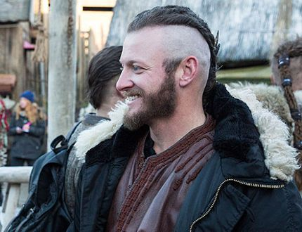 "Toronto Blue Jays third baseman Josh Donaldson (right) is shown on the set of the television show ""Vikings."" THE CANADIAN PRESS/HO-Corus Entertainment"