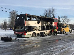 A double-decker OC Transpo bus loaded with passengers caught fire in the city's rural southeast Tuesday morning.