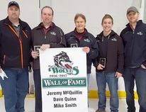 The 2017 Ripley Wolves Wall of Fame inductees were announced during a ceremony on Jan. 14, 2017. L-R: Kevin Taylor - Wolves President, Mike Smith - Inductee, Dave Quinn - Inductee, Jeremy McQuillin - Inductee, and Mark Smith - Wolves General Manager.