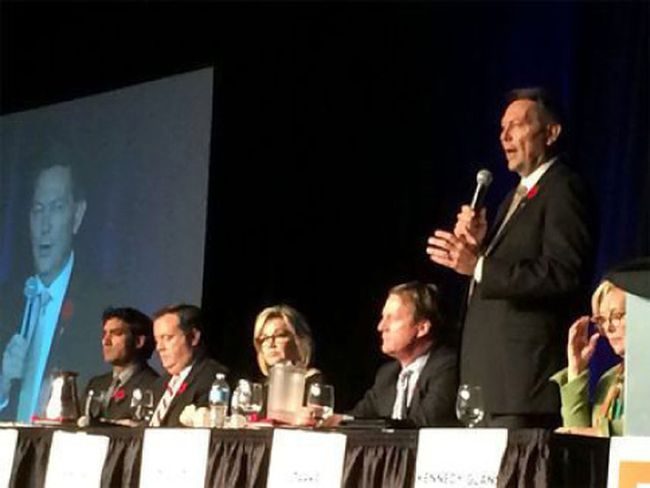 Left to right: Khan, Kenney, Jansen, Nelson, Starke (speaking), Kennedy-Glans at the PC convention in Red Deer on Nov. 5, 2016. (Postmedia Network)