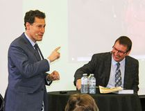Steve Paikin, left, long time political journalist, author and host of TVO's The Agenda, shares a laugh with Jamie Bramburger, Algonquin College's manager of Student and Community Affairs, Pembroke Campus at the start of the college's speakers series. The pair chatted about Ontario Premier Bill Davis, and his contributions to the education system.