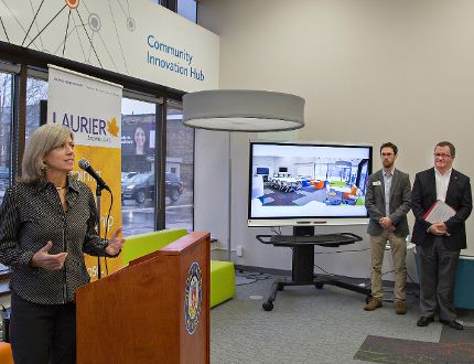 Joanne Benham-Rennick, executive director of the Schlegel Centre for Entrepreneurship and Social Innovation, speaks during the opening Tuesday of the new Community Innovation Hub at 67 Darling St. (Brian Thompson/the Expositor)