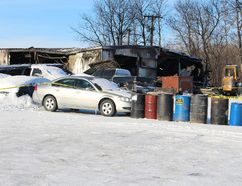 What remains of Vic's Auto Body after fire devastated the Teulon business Jan. 8. (Juliet Kadzviti, Interlake Publishing, Postmedia Network)
